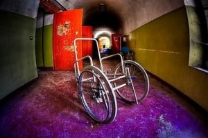 ruined hospiatl with wheelchair