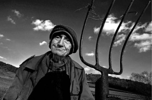 old farmer with fork - BORKO IVO - slovenia