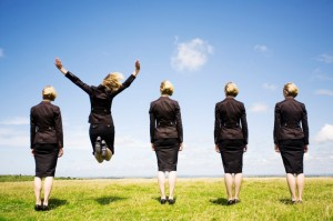 Business women one jump